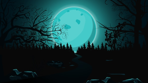 Halloween background, full blue moon, dark forest and lonely trail.