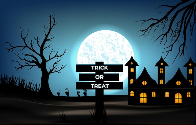 Halloween background, full moon and barren tree vector illustration