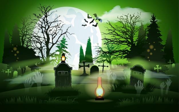 Halloween background graveyard cemetery