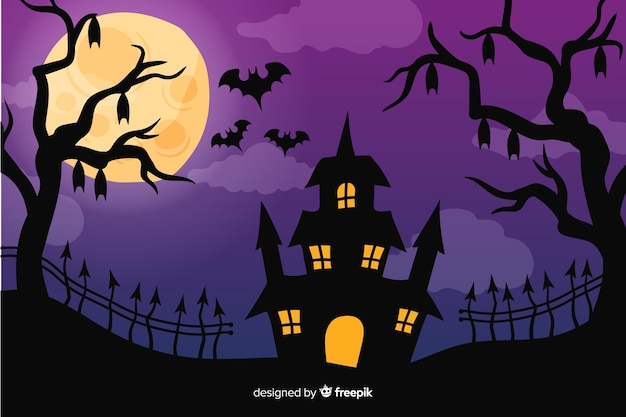 Halloween background in hand-drawn design