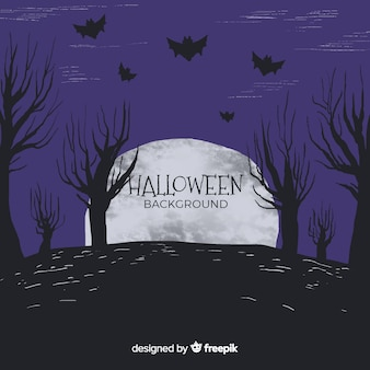 Halloween background in hand drawn style