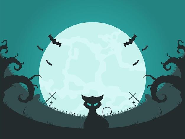 Хэллоуин фоновой иллюстрации в плоском дизайне