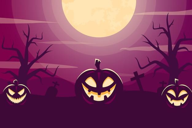 Хэллоуин фон в плоском дизайне