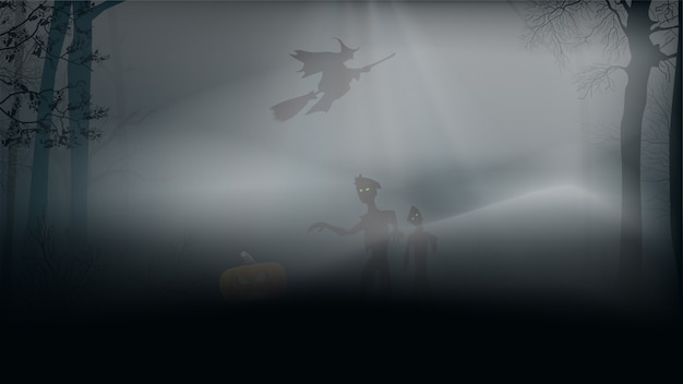 Halloween background, misty forest with zombies, pumpkin and witch on a broom