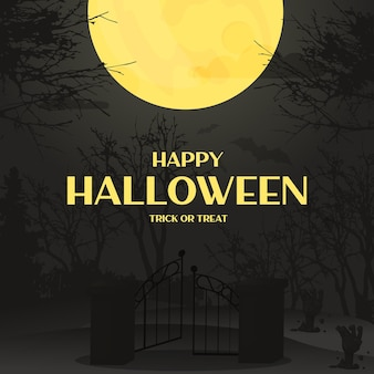Halloween background night forest with the moon autumn spooky scary graveyard invitation