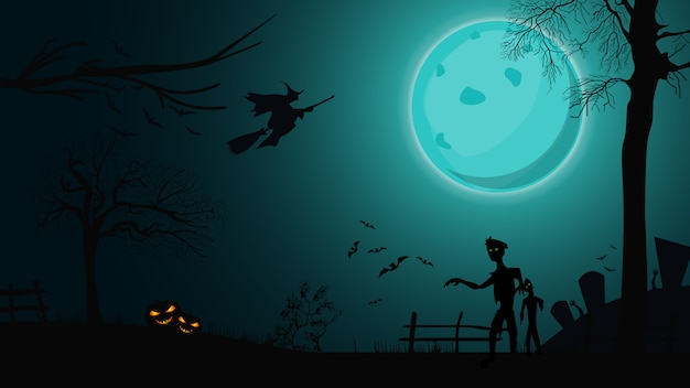 Halloween background, night landscape with big blue full moon, zombie, witches and pumpkins