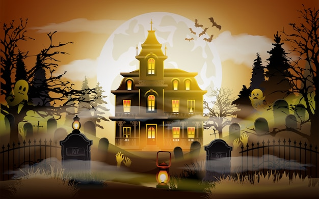 Halloween background. old scary house.