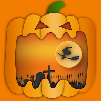 Halloween background paper art style.