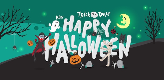 Halloween background party at night concept.