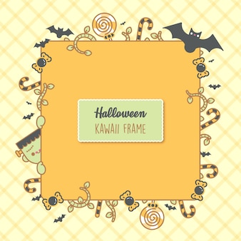 Halloween background. place for your text. vector frame with bats, candy,  branches and a cute  frankestein. trick or treat concept. creative design for invitation and party. - vector
