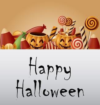 Хэллоуин фон корзина тыквы и собранные конфеты