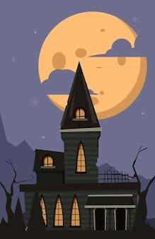 Фон хэллоуина. страшный замок ужасов лунный ночной пейзаж в темной деревне с вектором готического таинственного готического дома. замок лунного света, сезонный мультяшный хэллоуин ночь иллюстрация