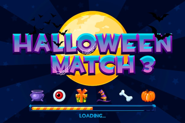 Halloween on  background. set icons and loading game