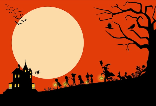 Halloween background, silhouette of children going trick or treating,  illustration