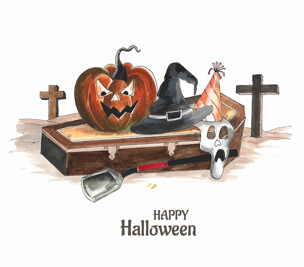Halloween background spooky pumpkin card design