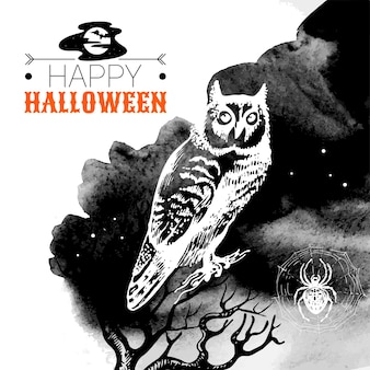 Halloween background. typographic poster. hand drawn sketch and watercolor vector illustration