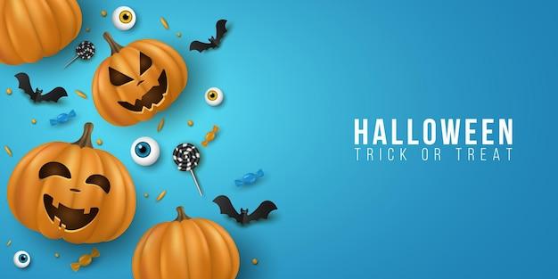 Хэллоуин фон с 3d эмоциональный мультфильм улыбающиеся тыквы и декоративные глаза, сладости, леденцы на палочке, летучие мыши. праздничный дизайн для обложки, баннера или приглашения на вечеринку. eps 10