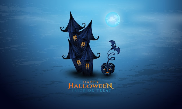 Halloween background with ancient house