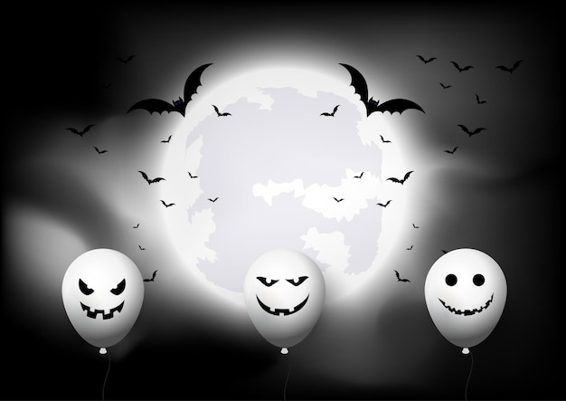 Halloween background with balloons and bats against moon landscape 0309