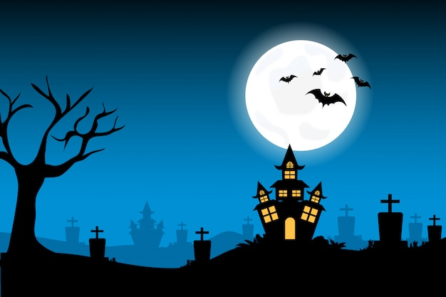 Halloween background with bat at night with dark moon on night sky