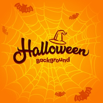 Halloween background with bats and cobwebs.