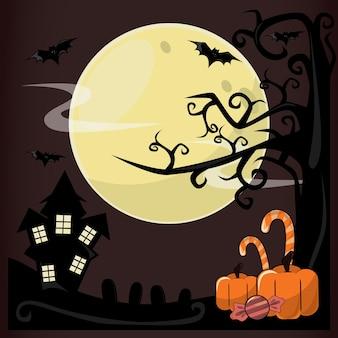 Хэллоуин фон с летучими мышами, дом с привидениями, тыква и страшный замок в полнолуние
