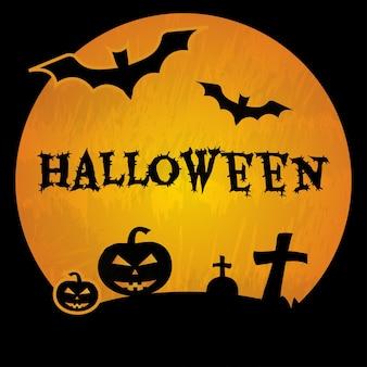 Хэллоуин фон с могилой черные летучие мыши пересекает тыквы векторные иллюстрации