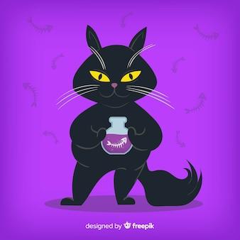 黒の猫とハロウィーンの背景