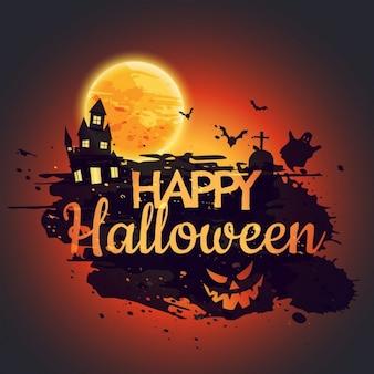 Happy halloween постер с жутким замком