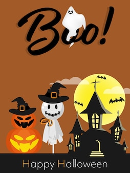 Halloween background with boo! and happy halloween text.