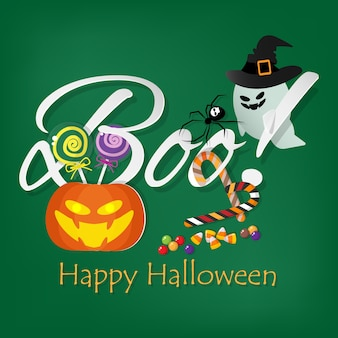 Halloween background with boo! text.