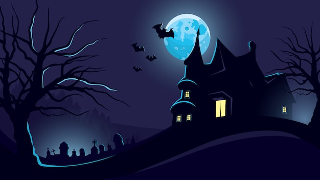 Halloween background with castle and cemetery.
