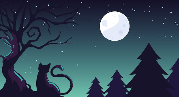 Halloween background with cat in the dark field