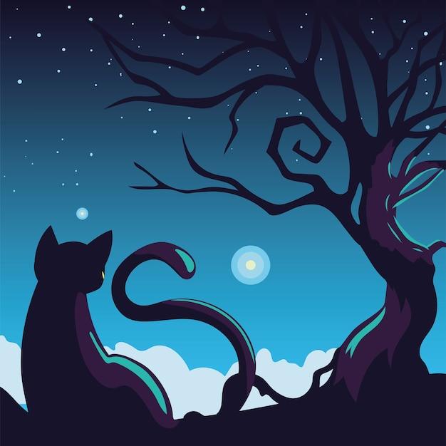 Хэллоуин фон с кошкой в темную ночь Premium векторы