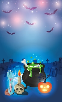 Halloween background with cauldron and graveyard