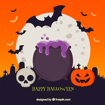 Halloween background with cauldron and other elements