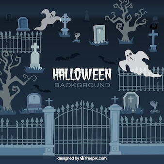 Halloween background with cementery design