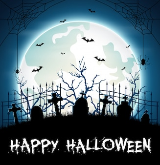Halloween background with cemetery and bats