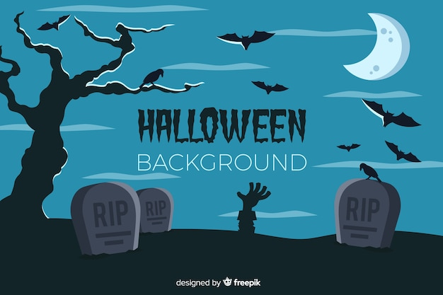 Halloween background with cemetery flat design