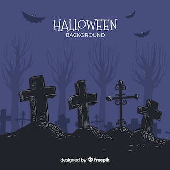 Halloween background with cemetery in hand drawn style