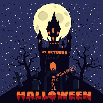 Halloween background with cemetery and sceleton haunted castle house and full moon