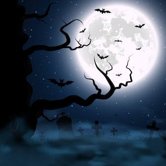 Halloween background with cemetery, tree and moon.   illustration