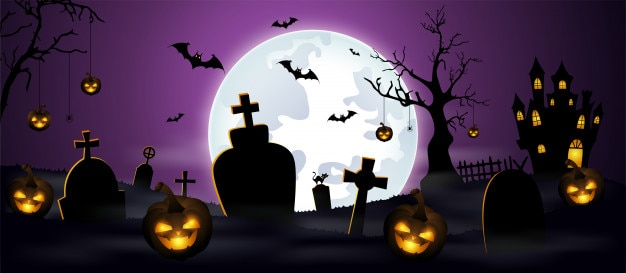 Halloween background with cemetery