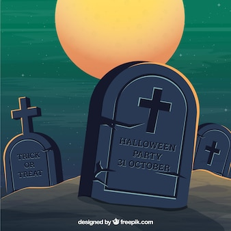 Halloween background with classic tombstones