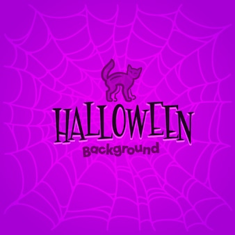 Halloween background with сat and cobwebs.