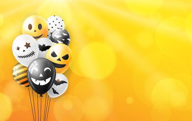 Предпосылка хеллоуина с красочными воздушными шарами. векторная иллюстрация