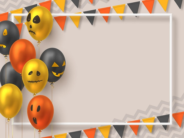 Halloween background with copy space. air balloons in realistic style with monster faces and bunting flags. vector illustration.