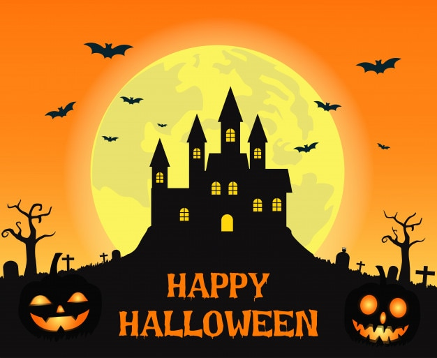 Halloween background with creepy castle on full moon