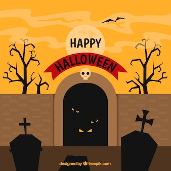 Halloween background with creepy cementery