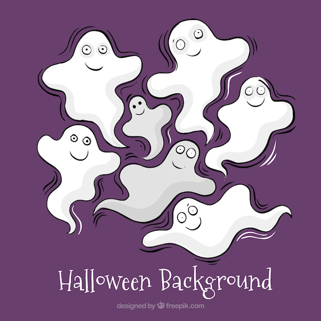 Halloween background with creepy ghosts